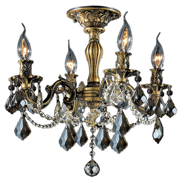 French Palace Four Light Antique Bronze Finish And Golden Teak Crystal Semi Flush Mount Ceiling