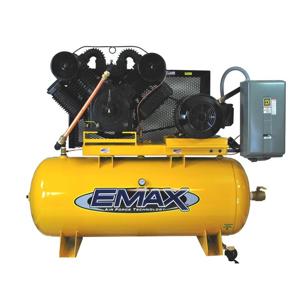 EMAX Industrial Plus 25 HP 3-Phase 2-Stage 120-gallon Stationary Electric Air Compressor