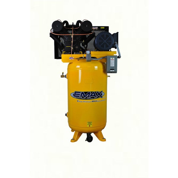 EMAX Industrial Plus 7.5 HP 1-Phase 2-Stage 80 gal.Vertical Stationary Electric Air Compressor