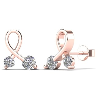 10k Rose Gold 1/5ct TDW Diamond Ribbon Stud Earrings (H-I, I1-I2)