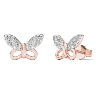 10k Rose Gold Diamond Accent Elegant Butterfly Stud Earrings (H-I, I1-I2)