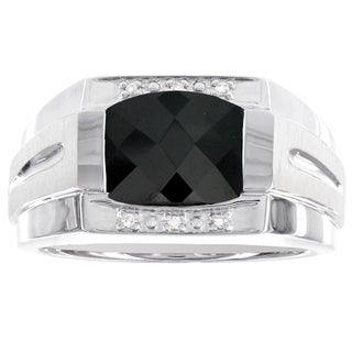 H Star Sterling Silver Men's Checkerboard Onyx and Diamond Accent Ring (H-I, I1-I2)