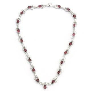 De Buman Sterling Silver Natural Ruby or Amethyst Necklace