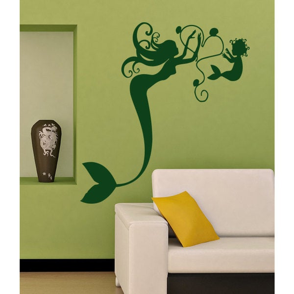 Mermaid beauty love heart baby Wall Art Sticker Decal Green