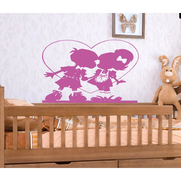 Girl and boy heart Love Wall Art Sticker Decal Pink