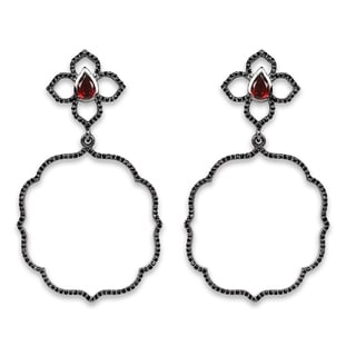 Olivia Leone Sterling Silver 2 1/4ct TGW Genuine Garnet and Black Spinel Earrings