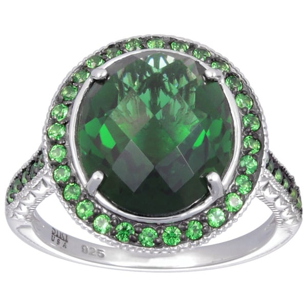 Sterling Silver Synthetic Quartz and Green Cubic Zirconia Ring