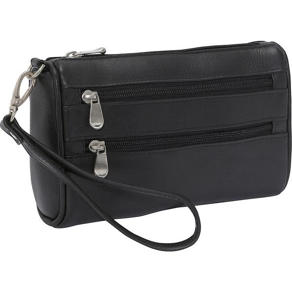 LeDonne Leather Two Zip Wristlet Clutch