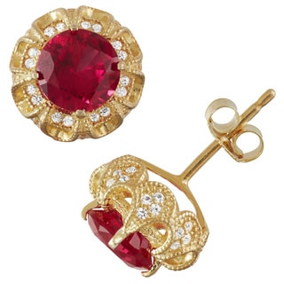 Gioelli Gold over Silver Created Ruby and Created White Sapphire Claw Earrings