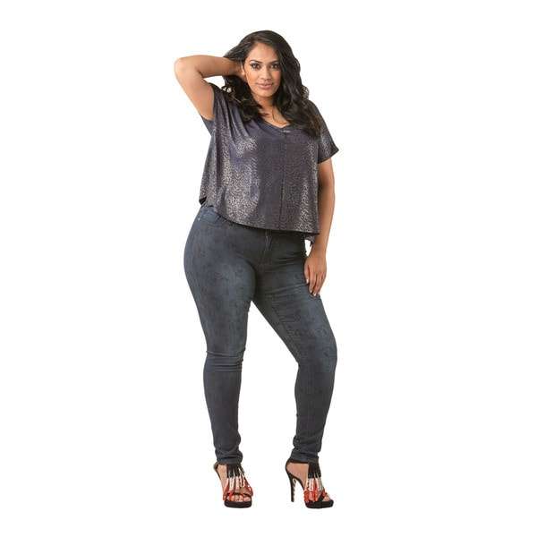 Poetic Justice Plus Size Maya Medium Hand-sanding Daisy Printed Midrise Skinny Jeans