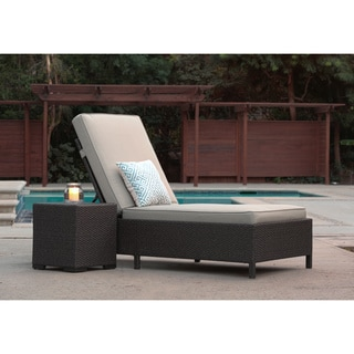 Serta Outdoor Collection Chaise Lounge with Cushions, Beige/Dark Brown