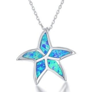 La Preciosa Sterling Silver Created Blue Opal Starfish Pendant