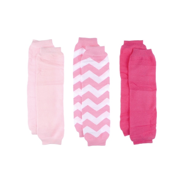Crummy Bunny Pink Solid & Chevron Leg Warmers Set