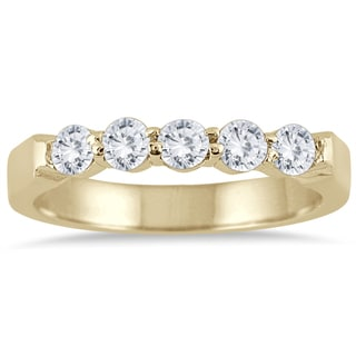 Marquee Jewels 10k Yellow Gold 1/2ct TDW Prong 5-stone Diamond Band (I-J, I2-I3)