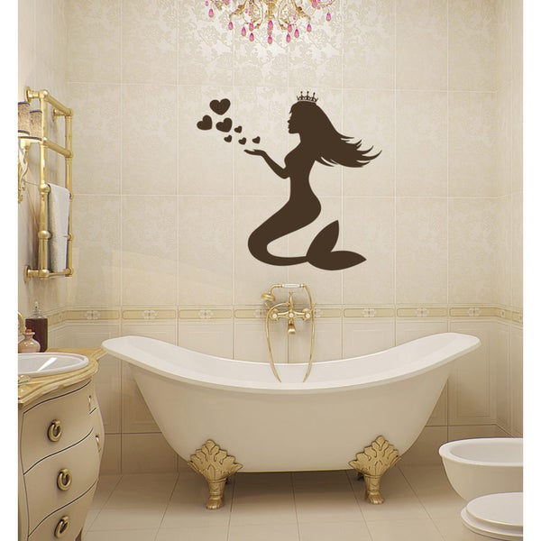 Beautiful girl mermaid bubbles heart Wall Art Sticker Decal Brown