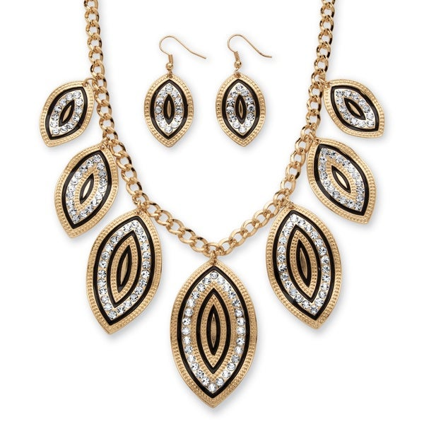 PalmBeach Crystal and Black Enamel Leaf Motif Necklace and Earrings Set in Gold Tone Bold Fashion