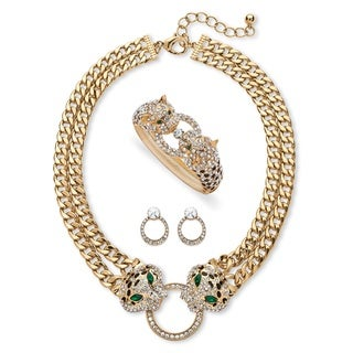 Pave Crystal Leopard Three-Piece Necklace, Earrings and Bangle Set in Gold Tone Bold Fashi