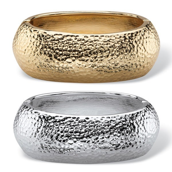 PalmBeach Hammered-Style Two-Piece Hinged Bangle Bracelet Set in Gold Tone and Silvertone Bold Fashion