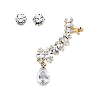PalmBeach Marquise and Pear-Cut White Crystal Ear Climber Cuff and Round Stud 3-Piece Earrings Set in Gold Ton Bold Fashion