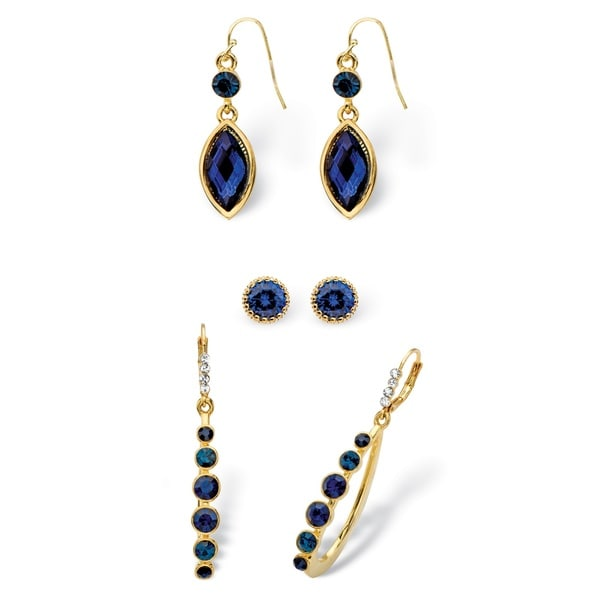 PalmBeach Round and Marquise-Cut Simulated Midnight Blue Sapphire Crystal 3-Pair Stud, Drop and Hoop Earrings Bold Fashion