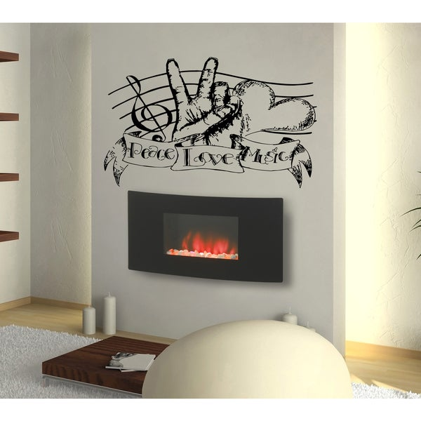 Peace Love music heart notes Wall Art Sticker Decal