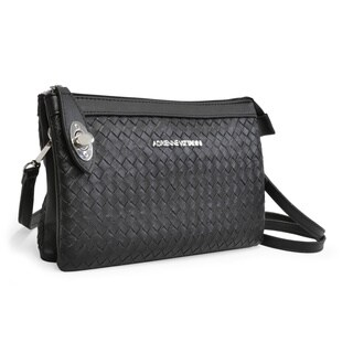 Adrienne Vittadini Woven Top Zip Crossbody Handbag