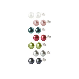 Sterling Silver Freshwater Round Button Pearl Stud Earrings Box Set