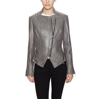 Dawn Levy Grey Leather Quin Jacket (Size XS)