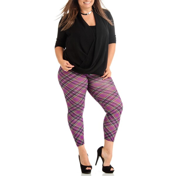 Women's Purple Plaid Plus Size Legging