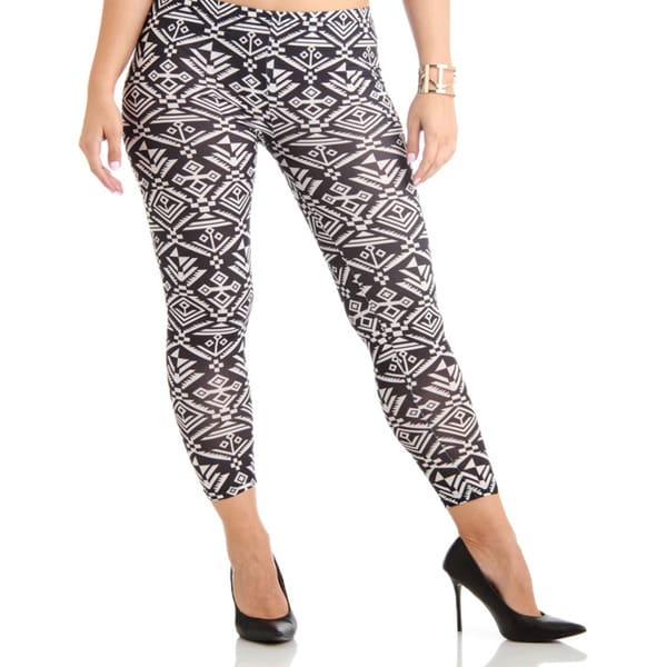 Black/White Printed Plus Size Ankle Leggings