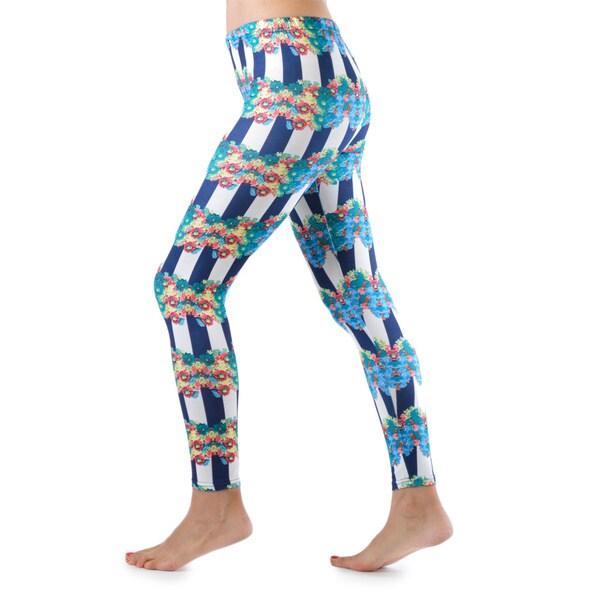 Juniors' Floral Strips Leggings