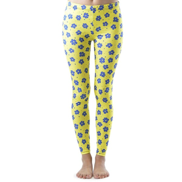 Blue Flower Spotted Footless Leggings