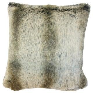 Valeska Faux Fur Orange Throw Pillow