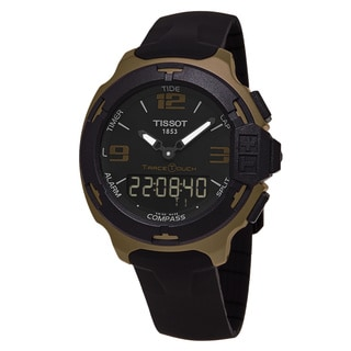 Tissot Men's T081.420.97.057.06 'T-Race Touch' Black Dial Black Rubber Strap Brown Aluminum Swiss Quartz Watch
