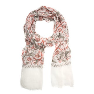 Brama Woodlands Red Floral Fauna Cotton Scarf (India)