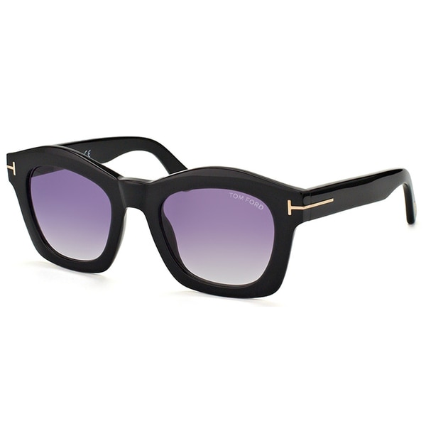 Tom Ford TF 431 01Z Greta Shiny Black Plastic Grey Gradient Lens Fashion Sunglasses