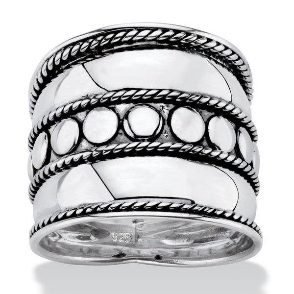 PalmBeach Bali Bohemian Wide Cigar Band-Style Ring Band in Antiqued .925 Sterling Silver with Rope Detailing Tailored