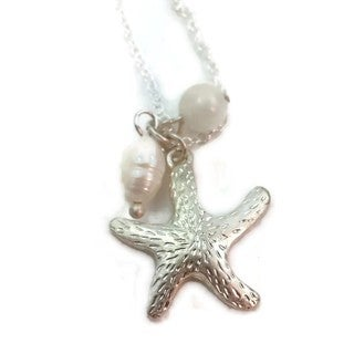 Mama Designs Handmade Sterling Silver Starfish Pearl Necklace