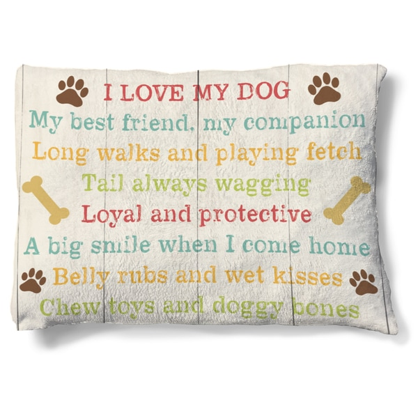 Laural Home I Love My Dog Fleece Dog Bed