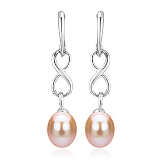 DaVonna Sterling Silver 8.5-9mm Long Shape Pink Freshwater Pearl Infinity Dangle Earrings