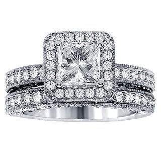 Platinum 3ct TDW Halo Diamond Bridal Ring Set (G-H, SI1-SI2)