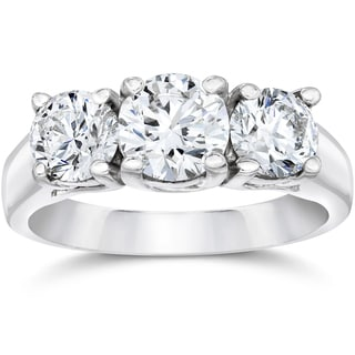14k White Gold 1 3/8ct Three Stone Round Cut Lab Grown Diamond Engagement Ring (F-G, VS2-SI1)