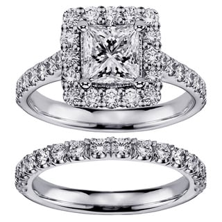 Platinum 2 1/5ct TDW Princess-cut Square Halo Diamond Bridal Ring Set (G-H, SI1-SI2)