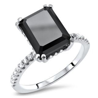 Noori Certified 14k White Gold 2 7/8ct TDW Emerald-cut Black Diamond Engagement Ring (G-H, SI1-SI2)