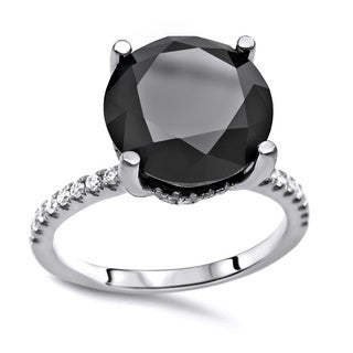 Noori Certified 14k White Gold 3 1/10ct TDW Round-cut Black Diamond Engagement Ring (G-H, SI1-SI2)
