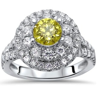 Noori Certified 14k White Gold 1 1/3ct TDW Canary Yellow Diamond Engagement Ring (G-H, SI1-SI2)