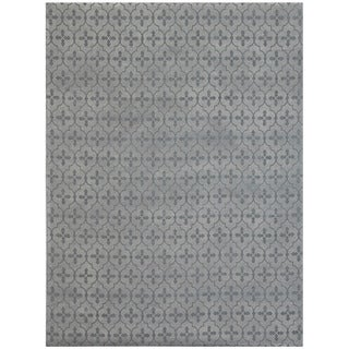 Herat Oriental Indo Hand-tufted Khotan Light Grey Wool Area Rug (8' x 10')
