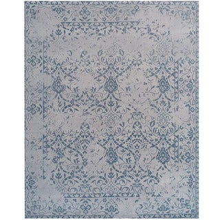 Herat Oriental Indo Hand-tufted Khotan Light Blue/ Blue Wool Runner (7'6 x 9'6)