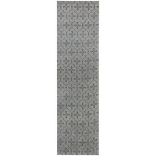 Herat Oriental Indo Hand-tufted Printed Khotan Ivory/ Grey Wool Runner (2'8 x 10')