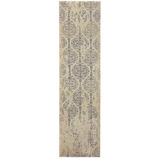 Herat Oriental Indo Hand-tufted Printed Erased Ivory/ Black Wool Runner (2'8 x 10')